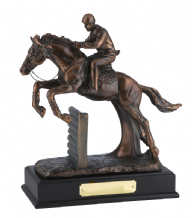 BRONZE PLATED JUMPING HORSE AND JOCKEY
